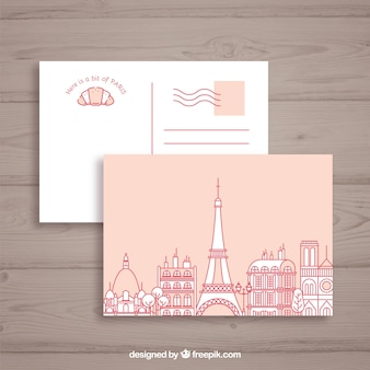 Эйфелева башня в Париже. Почтовая открытка