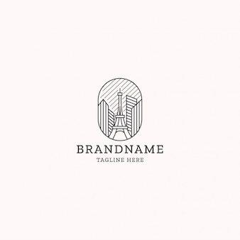 Эйфелева башня линии арт логотип дизайн шаблона