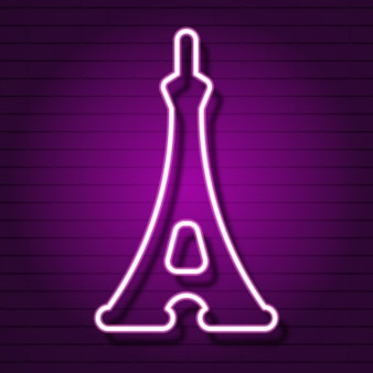Eiffel tower neon sign. luminous signboard with famous tower. night bright advertisement. vector in neon style for french vacation, travel agency, architecture