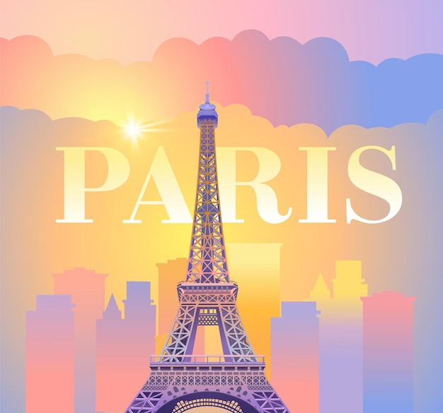 Eiffel tower in paris. evening paris. sunny sunset in france against the backdrop of the city.  illustration