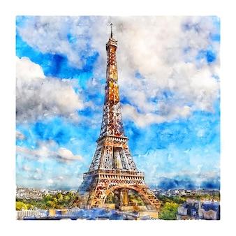 エッフェル塔パリフランス水彩スケッチ手描きイラスト