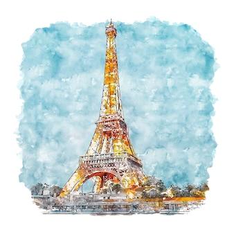 Эйфелева башня париж франция акварельный эскиз рисованной иллюстрации