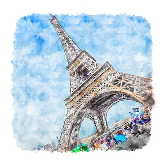 Eiffel tower paris france watercolor sketch hand drawn illustration
