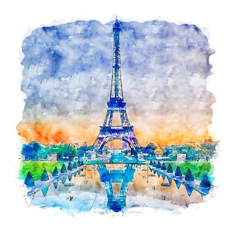 Eiffel tower paris france watercolor sketch hand drawn illustration