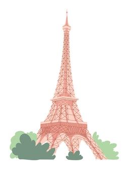Eiffel tower in paris on white background.