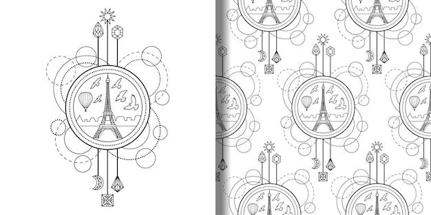 エッフェル塔のプリントとシームレスなパターンセット