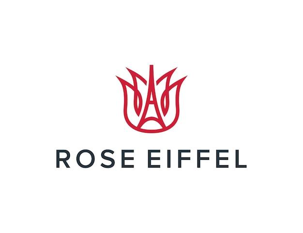 Eiffel tower and rose outline simple sleek creative geometric modern logo design