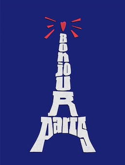 Eiffel tower typography on blue