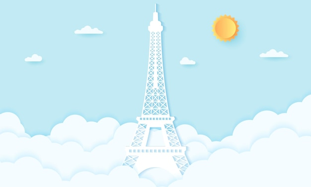 Eiffel tower with clouds, paper art style