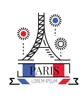 eiffel tower with fireworks. line flat logo and icon design. vector