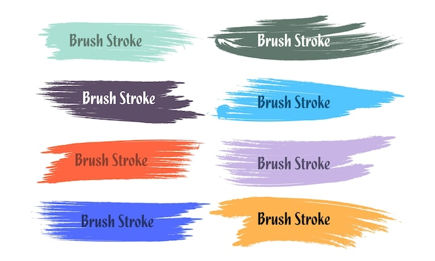 Eight abstract colorful grunge brush stroke set design
