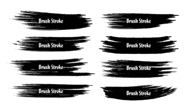 Eight abstract grunge brush stroke set