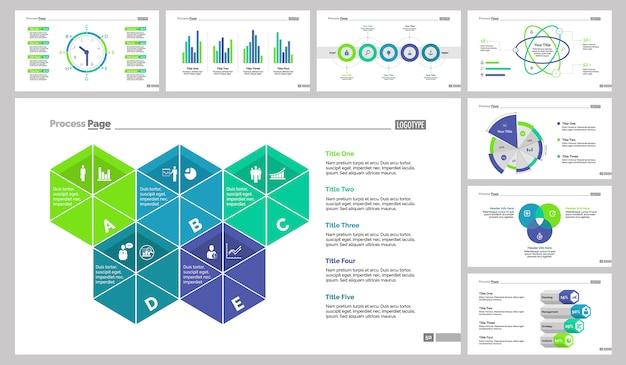 Set otto modelli di diapositive analytics