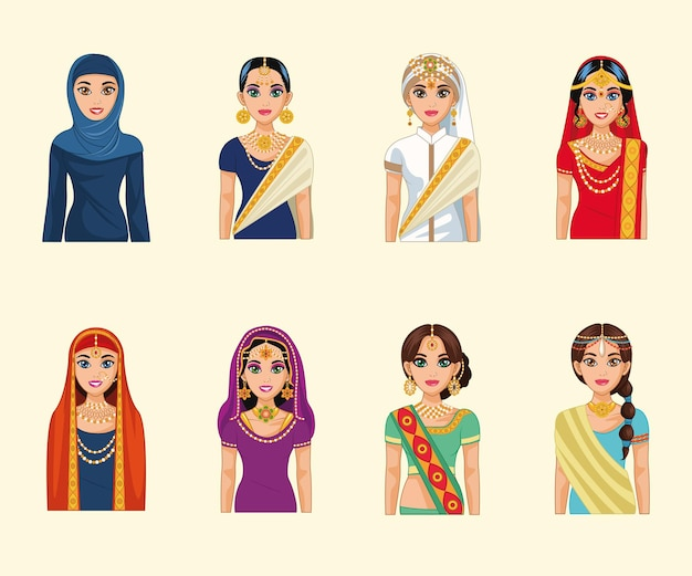 Eight arabic brides characters