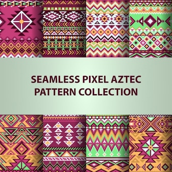Eight aztec patterns, backgrounds