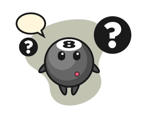 Eight ball billiard cartoon with the question mark
