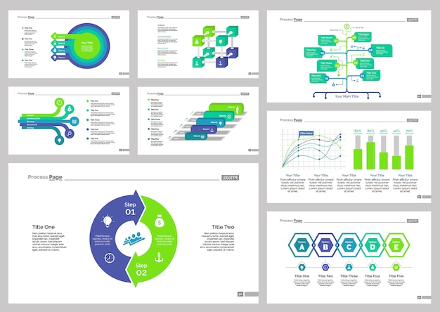 Eight banking slide templates set