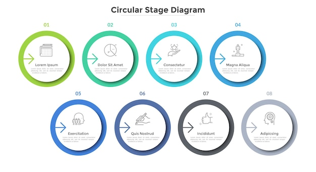 Eight circular paper white elements placed in horizontal row. concept of 8-stepped strategic business process. simple infographic design template. modern vector illustration for report, progress bar.