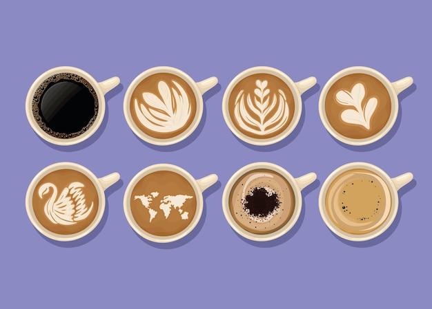 Eight coffee cups