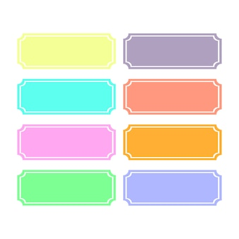 Eight colored templates for text captioning. white background.