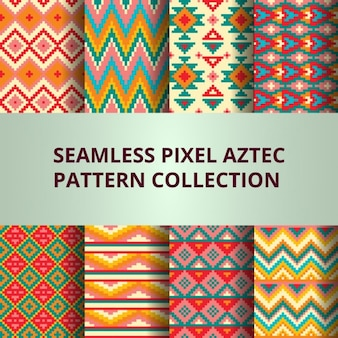 Eight colorful pixel patterns with aztec decoration