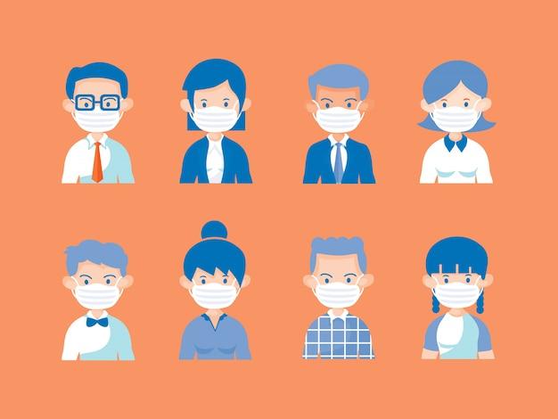 8つの異なるキャラクターの人々が医療用マスクを使用