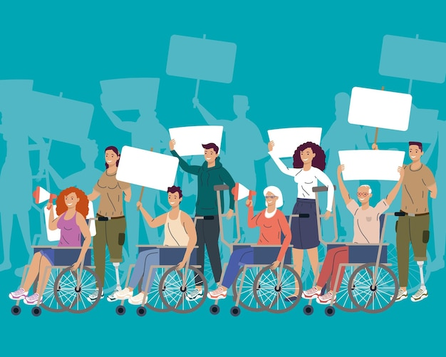 Eight disability persons protesting campaign