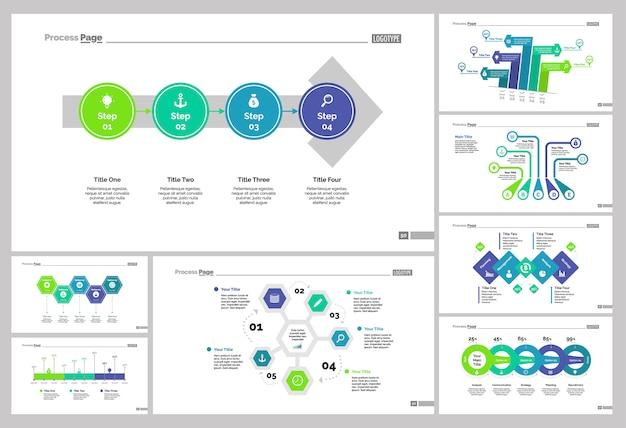 Set otto modelli di diapositive di economia