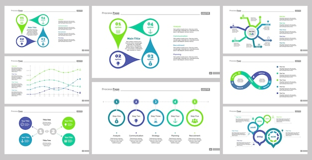 Eight finance slide templates set