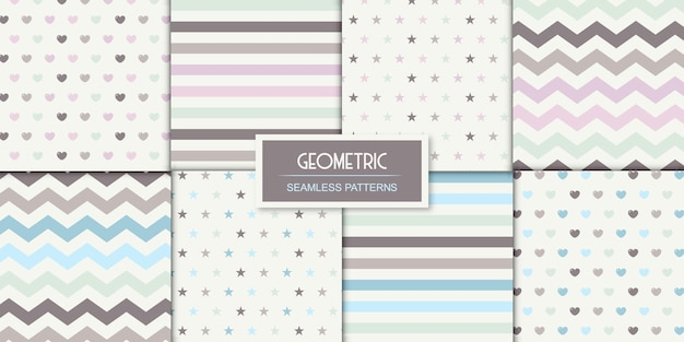 明るい色に設定された8つの幾何学模様