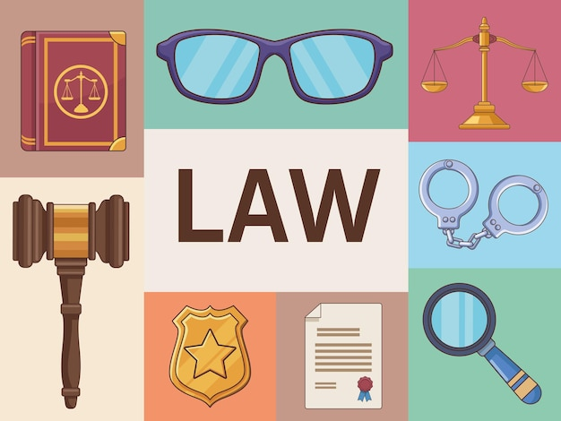 Eight justice law icons