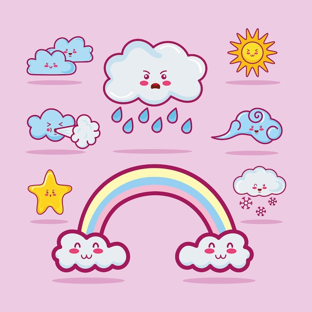 Eight kawaii clouds characters
