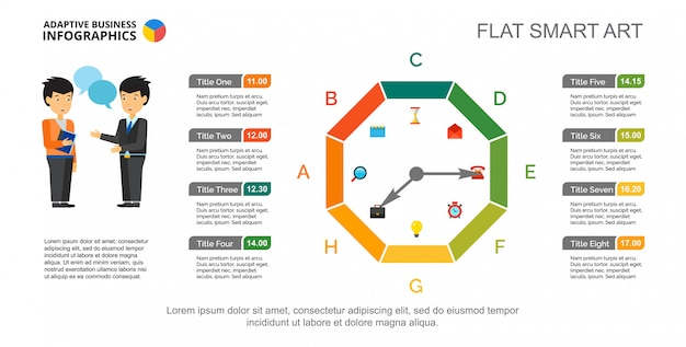 Eight letter watch diagram. octagon chart, schedule, slide template.