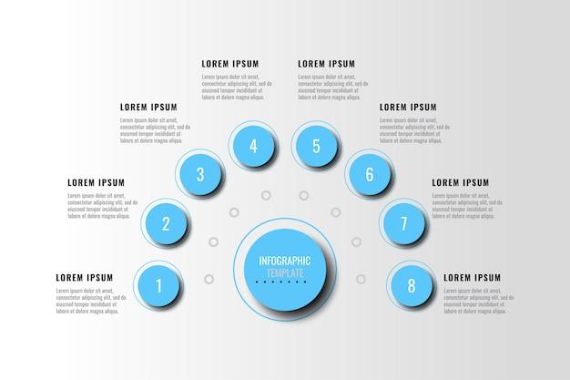 흰색 배경에 가로 다이어그램에 그림자가 있는 8개의 밝은 파란색 인포그래픽 요소