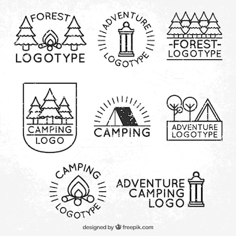 Eight logos of adventure and camping in the forest