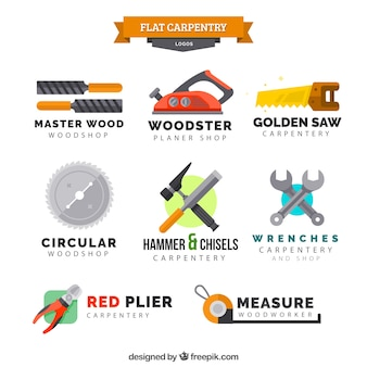 Eight logos for carpentry
