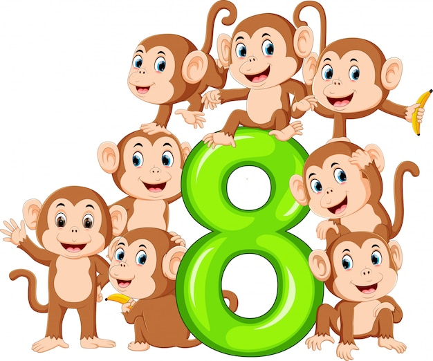 Eight number with so many monkey on it