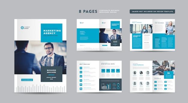 여덟 페이지 기업 비즈니스 브로셔 디자인 | 연례 보고서 및 회사 프로필 | 소책자 및 카탈로그 디자인 템플릿