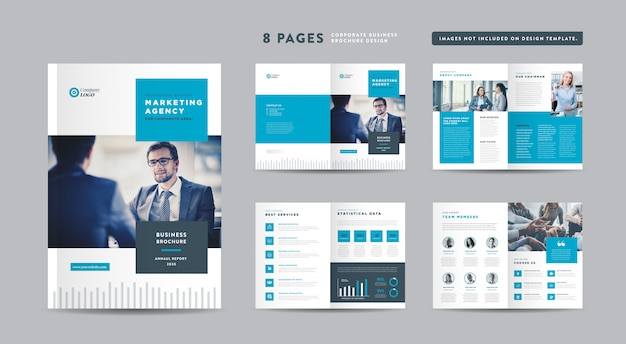 Eight pages corporate business brochure design | annual report and company profile | booklet and catalog design template