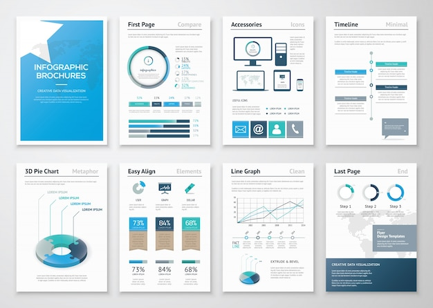 Восемь страниц инфографических брошюр и листовок для бизнеса