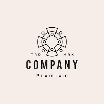 Eight people family team group of 8 human hipster vintage logo vector icon illustration