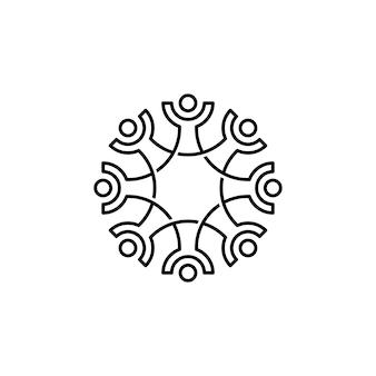 8人家族チームワーク多様性概要モノラインデザイン