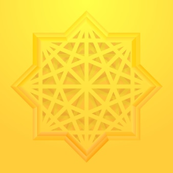 Eight point star with geometric pattern.