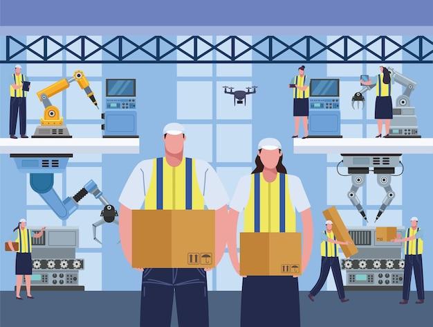 8つの生産労働者のシーン