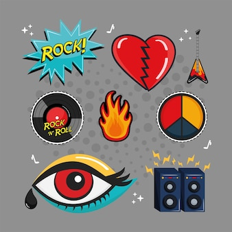 Eight rock and roll stickers