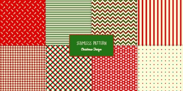 Eight seamless classic christmas patterns set