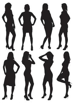 Eight silhouettes of beautiful women