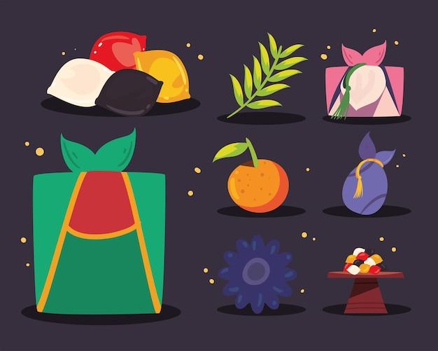 Eight south korean chuseok icons