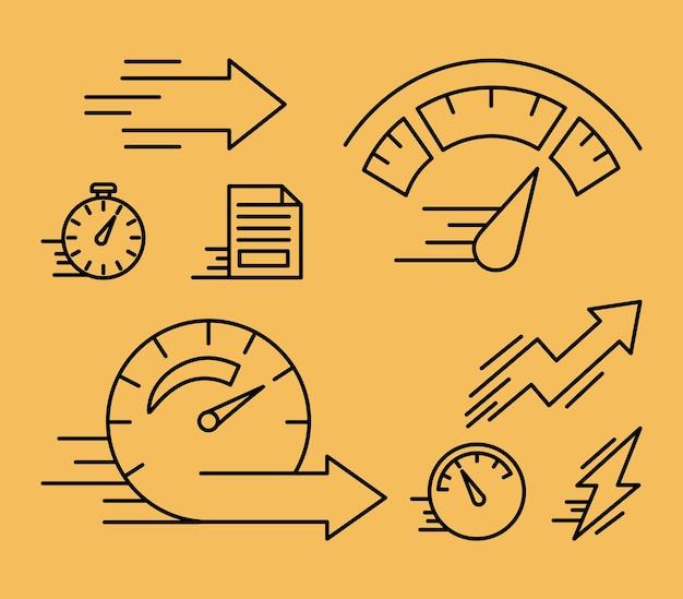 Восемь иконок стиля линии скорости