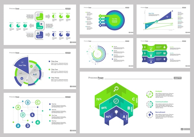 8つの統計スライドテンプレートセット